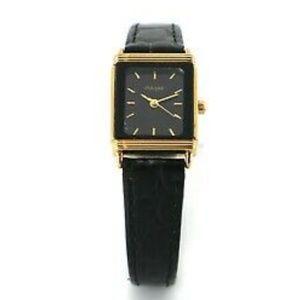 Pulsar Quartz Watch, Black Croco Leather Band